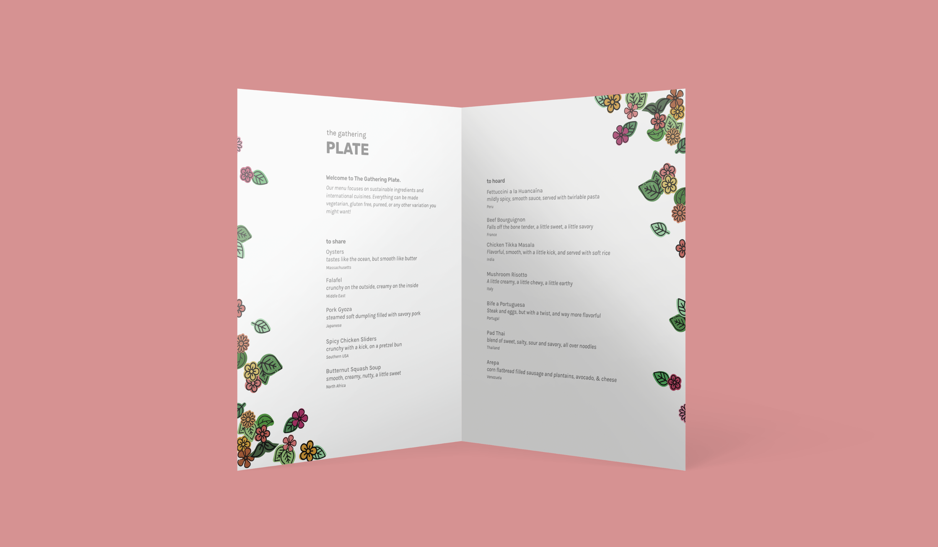 A bi-fold menu decorated with floral imagery