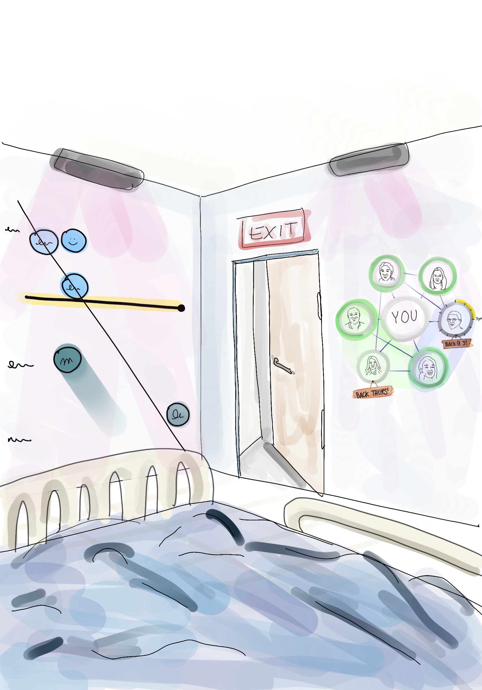 Drawing of what the visualizations might look like from the patient's view
